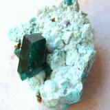 Dioptase, plancheite, chrysocolla Kaokoveld Plateau, Kunene Region, Namibia Crystal measures 13 mm (Author: Tobi)
