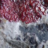 Cinabrio<br />Mina El Entredicho, Almadenejos, Comarca Valle de Alcudia, Ciudad Real, Castilla-La Mancha, España<br />5 x 4 cm. el área de cristales<br /> (Autor: javier ruiz martin)