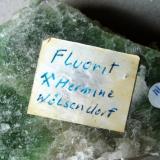 Fluorite, backside with older handwritten label Hermine Mine, Wölsendorf, Bavaria, Germany FOV 70 mm (Author: Tobi)