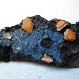 [Locality information corrected] Wulfenite Finch Mine (Barking Spider Mine), Arizona, USA Specimen width 70 mm (Author: Tobi)