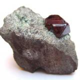 Cuprite Mashamba West Mine, Kolwezi District, Katanga Copper Crescent, Democratic Republic of Congo (Zaïre) Specimen size 2 cm, crystal 7 mm (Author: Tobi)