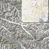 _El valle de Shigar, muy rico en excelentes ejemplares, está en la parte inferior del mapa. El mapa completo sin reducciones se puede ver en http://carlesmillan.cat/min/NPakistan.png (Autor: Carles Millan)