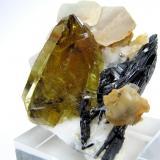 Titanite, schorl, calcite Shigar Valley, Skardu District, Baltistan, Gilgit-Baltistan, Pakistan 49 mm x 47 mm (Author: Carles Millan)