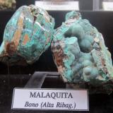 Malaquita. Bono, Alta Ribagorza, Lleida, Catalunya, España. Museo Geológico Valentí Masachs, Manresa. (Autor: Angel87)