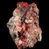 Cinabrio y Mercurio. Mina Las Cuevas, Almadén, Ciudad Real, Castilla La Mancha. 4,8x3,5x2,5 cm. Cristal principal 1,7x1,5x0,4 cm. Nacho Gaspar. (Autor: Nacho)