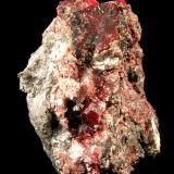 Cinabrio y Mercurio. Mina La Cuevas, Almadén, Ciudad Real, Castilla La Mancha. 4,8x3,5x2,5 cm. Cristal principal 1,7x1,5x0,4 cm. Col. y foto Nacho Gaspar. (Autor: Nacho)