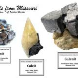 Galena - West Fork - 5 cm width,  Calcite - Buick - 6,5 cm height,  Galena - Sweetwater - 9 cm width (Author: Tobi)