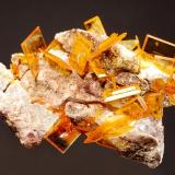 Wulfenite Rowley Mine, Theba, Painted Rock District, Maricopa Co., Arizona 3.1 x 4.2 cm. Collected by George Godas in the early 1990s. (Author: crosstimber)