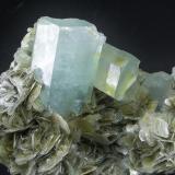Berilo ( Aguamarina ) Shigar Valley - Skardu - Baltistan - Pakistán 17 x 11 cm - Cristal principal de 8.7 cm Detalle (Autor: Diego Navarro)