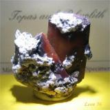 Topaz Hacienda Rivera near Hidalgo, Durango, Mexico 2,8 x 3.0 x 1,5 cm Topaz on rhyolite (Author: Leon56)
