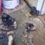 uncleaned/black manganese coating on crystals (Author: Jason)