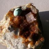Fluorite and a nautilus of Aurichalcite on hematite-coated Quartz on matrix Is Murvonis mine, Carbonia-Iglesias, Sardegna IT (Author: Gerhard Niklasch)