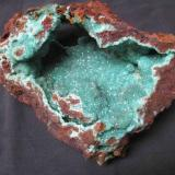 complete vug of adamite..var cuprian.  25 cm across  2008 find (Author: Peter Megaw)