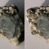 """Stereo view onto the top of the specimen. The interior is very pale green and perfectly transparent. (Note that the cube(001) face is """"standing on end"""" as it were, its edges at 45° to the axes.) (Author: Gerhard Niklasch)"""
