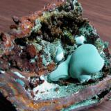 Malachite in gossan  cabinet (Author: Peter Megaw)