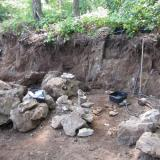 One of the work areas. The larger pocket zone is low on the face, but many smaller, 10 cm. holes are above. The floor of the bench is the bottom of the formation and is barren. (Author: vic rzonca)