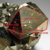 Pirita y esfalerita Quiruvilca, Provincia de Santiago de Chuco, Departamento de La Libertad, Perú 7 x 5 x 4,5 cm. Detalle con los cristales principales y la combinación de caras. El cristal principal mide 3 cm. (Autor: Antonio Alcaide)