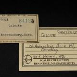 Old labels of calcite (Author: Roger Warin)