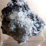 Marcasita, calcita, dolomita Benchmark Quarry, St. Johnsville, New York, USA 8 x 8 cm Detalle de la drusa de calcita (Autor: molsina)