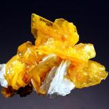 Wulfenite San Francisco Mine, 5th Level, Cucurpe, Sonora, Mexico 5.3 x 6.4 cm. Wafer-thin wulfenite crystals to 2.0 cm. hosting small botryoidal orange mimetite crystals and and bladed white barite. (Author: crosstimber)