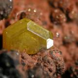 Mimetite Filón Sur, Tharsis, Alosno, Huelva, Spain Mimetite crystal 2 mm (Author: Cesar M. Salvan)
