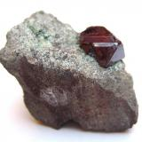 Cuprite Mashamba West Mine, Kolwezi District, Katanga Copper Crescent, Katanga (Shaba), Democratic Republic of Congo (Zaïre) Specimen size 2 cm, crystal 7 mm (Author: Tobi)