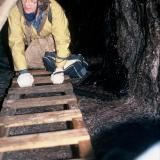 Joey Galt around 1100 ft. down in Faraday Mine.  (Joey's husband Eric had his ID stolen by James Earl Ray, Martin Luther King's assassin, during his flight to Canada) (Author: John Medici)