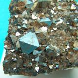 Magnetita Cerro Huañaquino, Potosí, Bolivia 4 x 3 cm Detalle del cristal 1,5 x 1 cm (Autor: panchito28)
