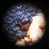 Azurita sobre Barita.Mina Atrevida, Vimbodí i Poblet, Comarca Conca de Barberà, Tarragona, Catalunya, EspañaCampo de visión de unos 3 mm. aprox. (Autor: Carles Rubio)