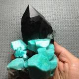Microcline (variety Amazonite) with smoky Quartz Colorado, USA  From the Dorris family, an unrepaired smoky and amazonite. (Author: Gail)