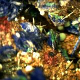 Azurite and Malachite on Limonite covered Quartz. M'Cissi, Er Rachidia, Morocco 5mm x 5mm (Author: Mark Ost)