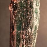 Tourmaline, Lepidolite Cruzeiro Mine, San Jose Safira, Minas Gerais, Brazil 11.5 x 3.0 cm (Author: Don Lum)