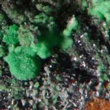 Adamite. Driggith Mine, Caldbeck Fells, Cumbria, UK. Field of view 4 mm. Specimen 27 mm.  (Author: Ru Smith)