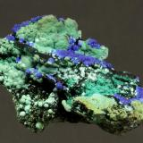 Azurite with Malachite and Chrysocolla Robinson Open Pit, Robinson District, Ruth, White Pine County, Nevada, USA 4.2 x 2.8 x 1.4 cm (Author: GneissWare)