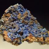 Linarite on Cerussite Level 2, Tui Mine, Te Aroha, New Zealand 8.5x6.5 cm (Author: Greg Lilly)