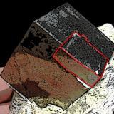 Pyrite Ampliación a Victoria Mine, Navajún, La Rioja, Spain 10 x 8 x 8 cm. Detailed of previous specimen. Diagram to define the smallest singular crystal. Biggest crystal size: 3 cm. (Author: supertxango)