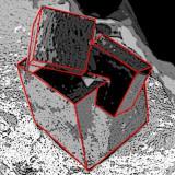 Pyrite Ampliación a Victoria Mine, Navajún, La Rioja, Spain 2 x 2 x 2 cm. Diagram of three grouped pyrite crystals. (Author: supertxango)