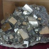 pyrite and quartz Tibles Mountains Romania about 20 cm (main crystals about 2.5 - 3 cm)  (Author: David)