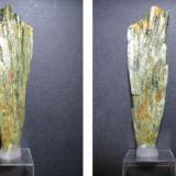 Actinolita Mina Slyudorudnik, Urales meridionales, Rusia 8'5 x 2'5 cm. Vista anterior y posterior del mismo haz de actinolita. (Autor: prcantos)