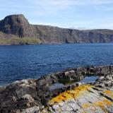 Moonen Bay, Isle of Skye, Scotland, UK Waterstein Head and Moonen Bay cliffs, viewed from Neist Point. September 2009. (Author: Mike Wood)
