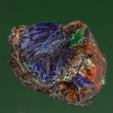 Azurite with Malachite Copper Queen Mine, Bisbee, Warren District, Mule Mts, Cochise Co., Arizona, USA 4.0 x 3.3 cm (Author: am mizunaka)