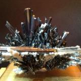 Stibnite and Calcite Xikuangshan Mine, Lengshuijiang, Hunan, China 3 cm x 3 cm (Author: Mark Ost)