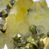 Chalcopyrite, Quartz Qale-Zari Mine, South Khorasan Province, eastern Iran Field of view: 3.3 cm (Author: vhairap)