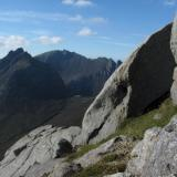 Looking NW towards Cir Mhor, and Caisteal Abhail beyond; from Goatfell. Photo taken in August. (Author: Mike Wood)