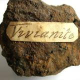 Vivianite Wheal Owles, Botallack, St. Just, Cornwall, England, UK label on rear (Author: ian jones)