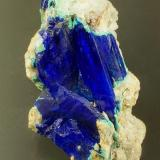 Linarite with cerussite and ? antlerite. ex Wards, ex Carlton Davis (1920-2003), ex Lavinsky, ex McAvoy. Caldbeck Fells, Cumbria, England, UK. Crystals to 16 mm in 29 mm specimen. (Author: Ru Smith)