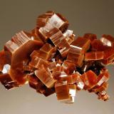 Vanadinite ACF Mine, Khénifra Province, Meknes-Tafilalet Region, Morocco 4.2 x 5.8 cm. Intergrown group of lustrous brownish-orange crystals to 1.7 cm. Collected in September 2011. (Author: crosstimber)