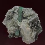 Beryl, Calcite, Muscovite, Pyrite, Rutile Rist Mine, Hiddenite, Alexander Co., North Carolina, USA 6.3 x 5.0 cm. (Author: am mizunaka)