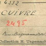 Copper Bergmannstrost Mine, Ems, Nassau, Germany Label of this specimen (Author: Roger Warin)