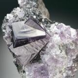 fluorite with sphalerite Frazer's Hush Mine, Rookhopeburn, Weardale, Co. Durham main crystal is 2.5 cm on edge (Author: Jesse Fisher)